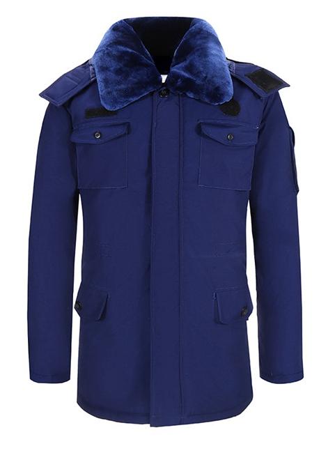 蓝色作训大衣